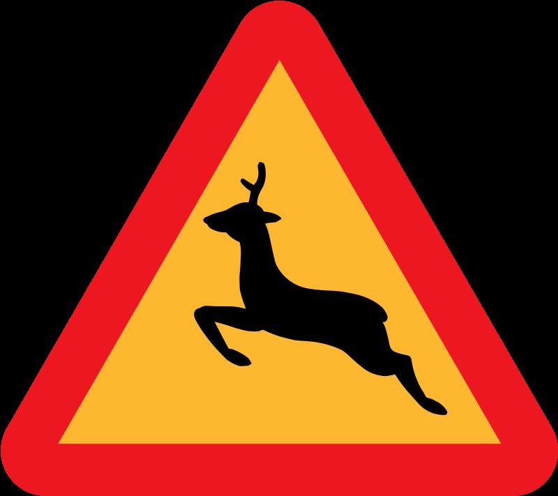 Free Clipart: Warning Deer Roadsign.