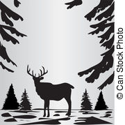 EPS Vector of Deer silhouette in the wild csp4114444.