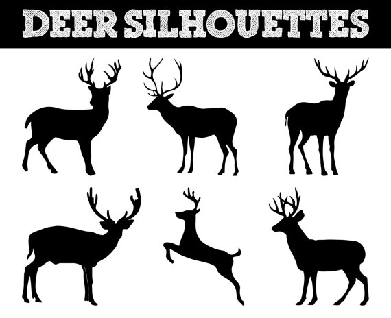 Reindeer, Deer, Animal Silhouettes // Animals Silhouette.