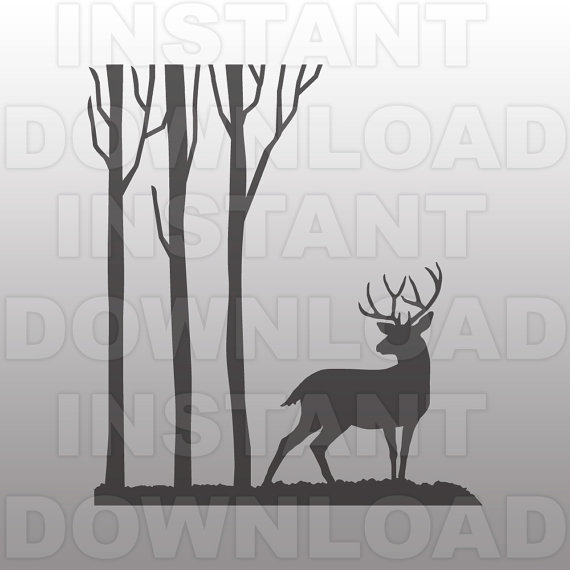 Deer in the Woods SVG File.