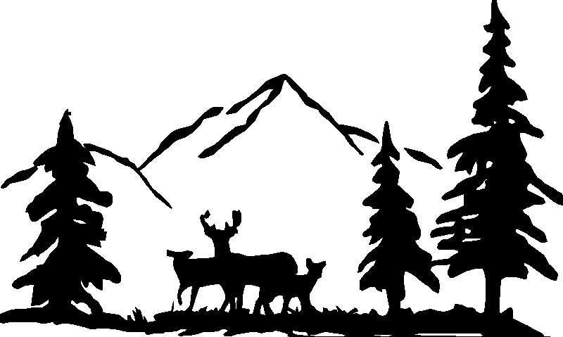 Deer in woods clip art.