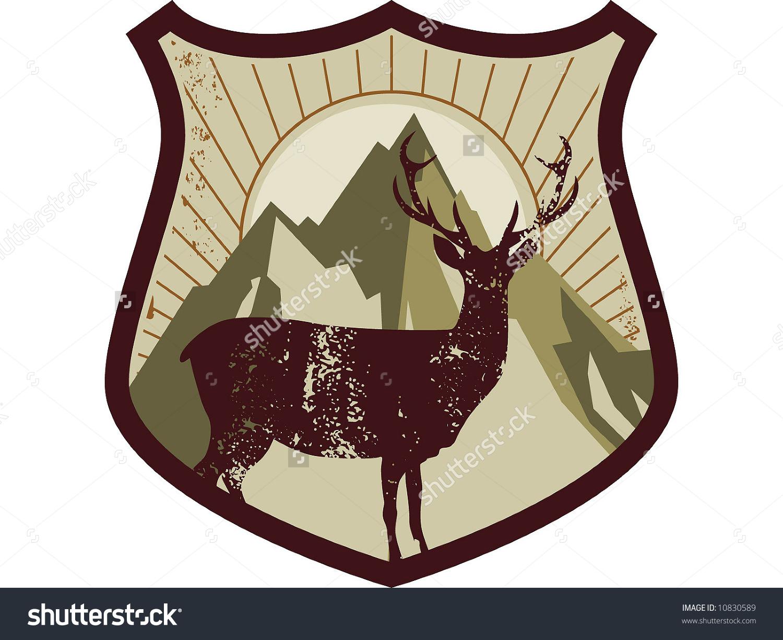 Deer Mountain Emblem Stock Vector Illustration 10830589 : Shutterstock.