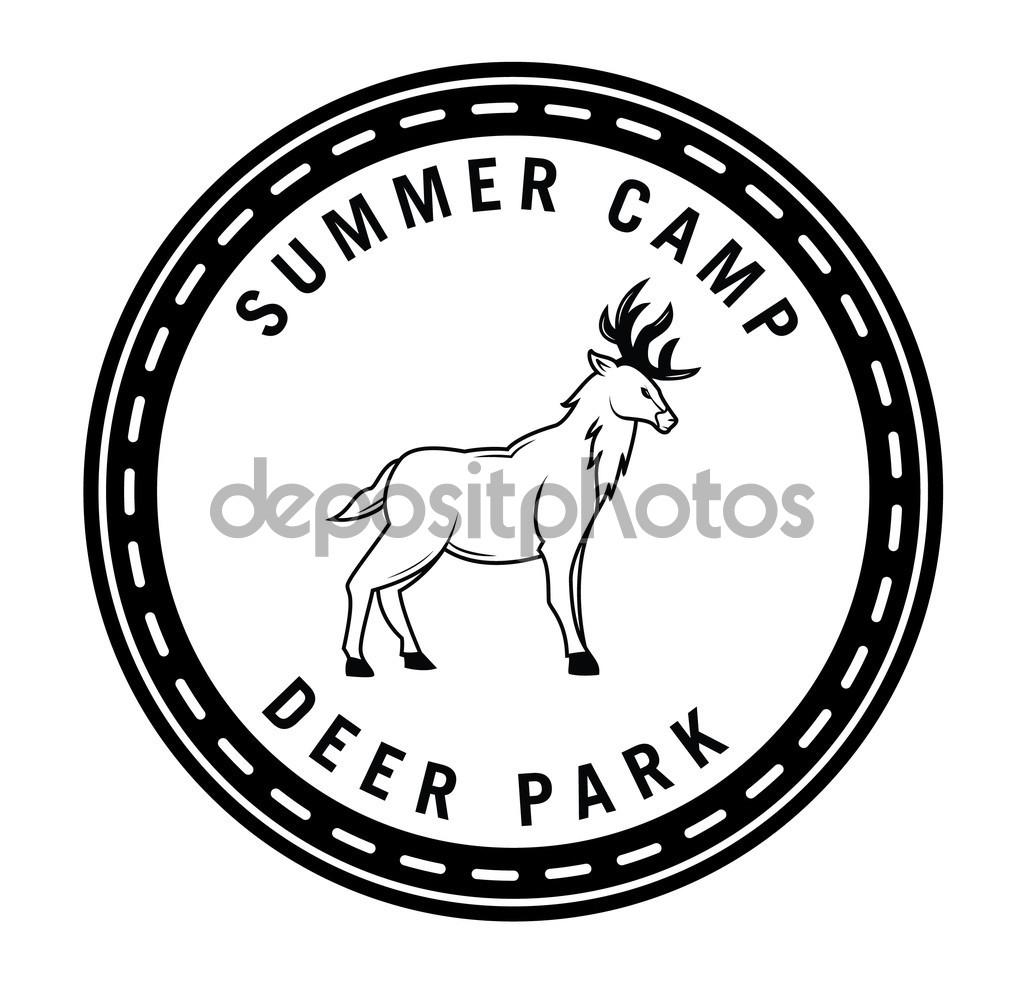 Summer camp deer park hunter badge — Stock Vector © imazyreams.
