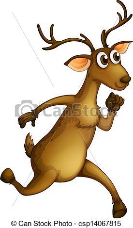 Vector Clip Art of A deer running.