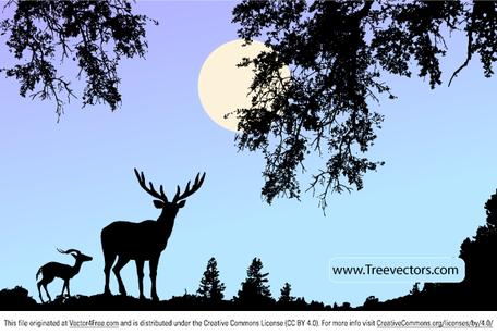 Deer Head Clipart Black And White deer scene clipart - C...
