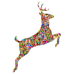 Low Poly Chromatic Leaping Deer Silhouette clipart, cliparts of Low.