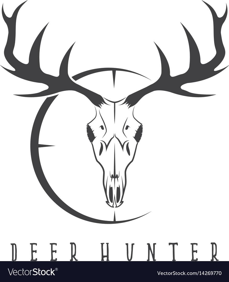Deer skull with target design template.