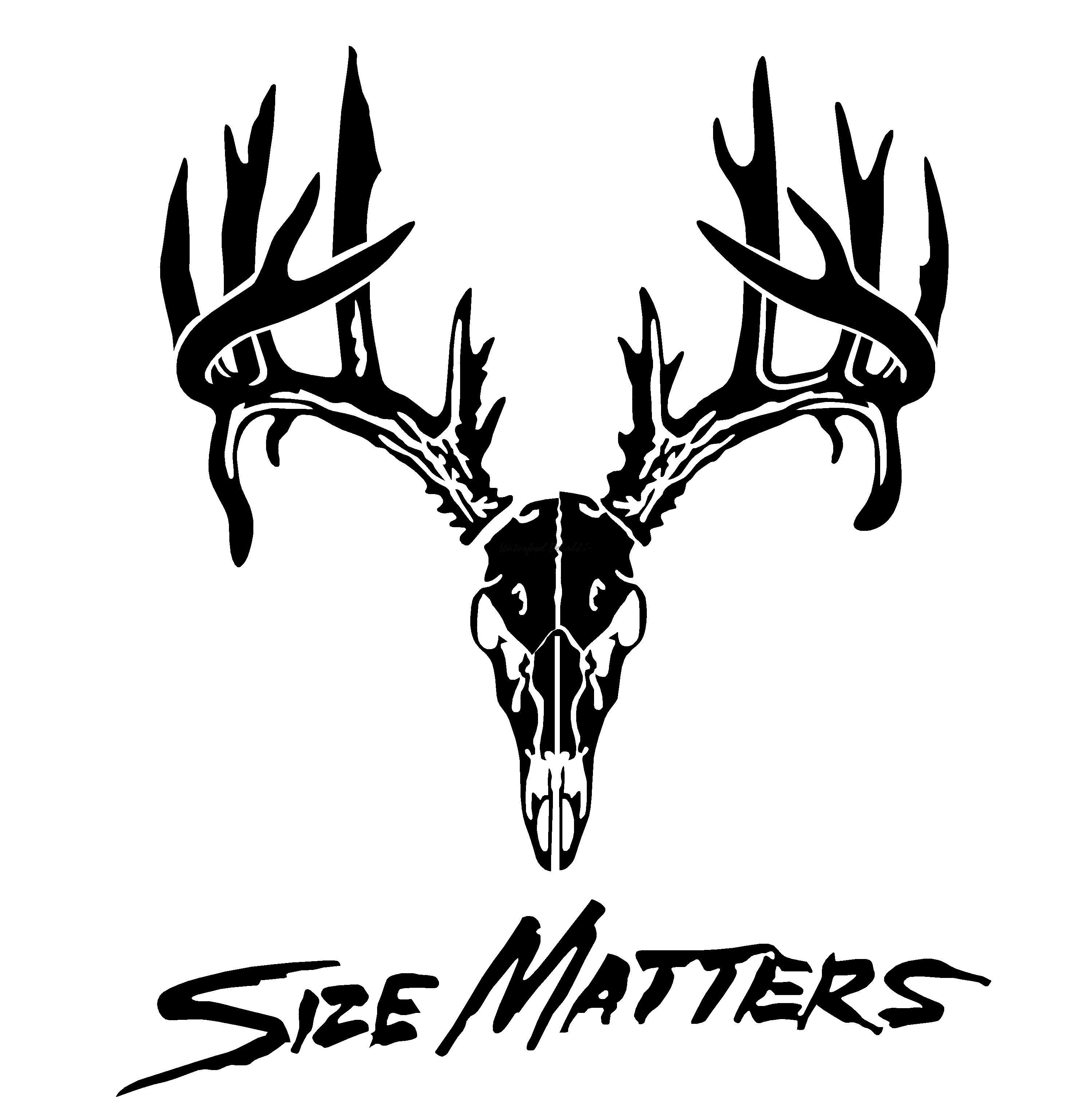 Size Matters Deer Skull Antler Decal.