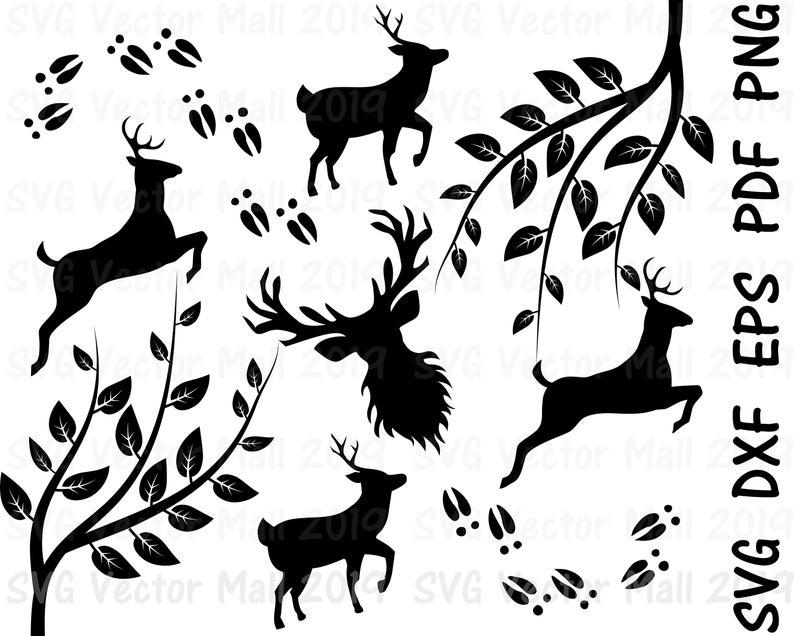 Deer, Branches, SVG, deer clipart, deer tracks, deer svg, deer vector,  digital download.