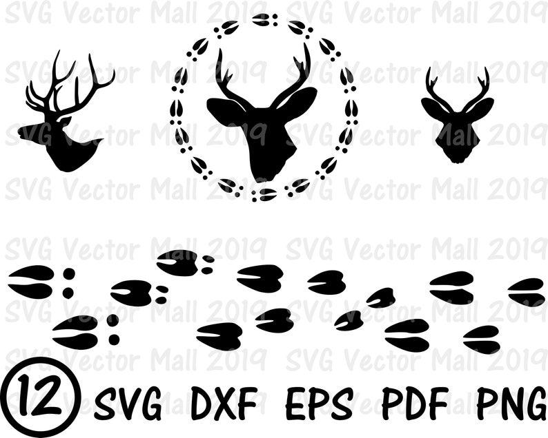 Deer, SVG, Deer Head, Deer Tracks, Deer SVG, deer clipart, tracks, hunting,  clipart, printable, digital download.