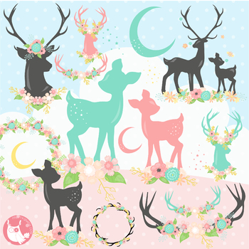 Sale Deer clipart commercial use, vector graphics, digital.