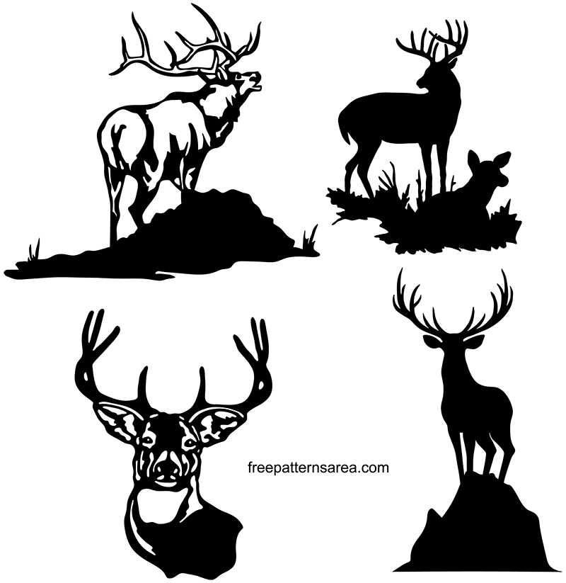 Deer Silhouette Vector Free Download Dxf File.