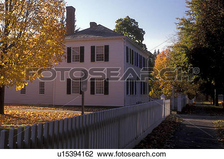 Stock Photo of Deerfield, Massachusetts, A colonial house with a.