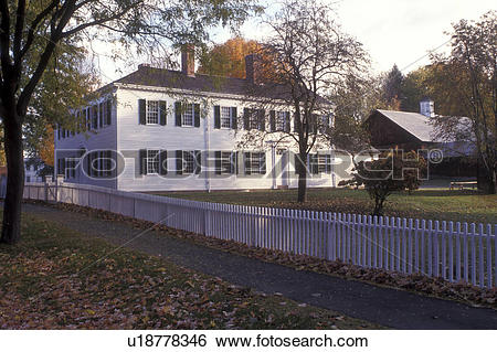 Stock Images of Deerfield, Massachusetts, A colonial house with a.