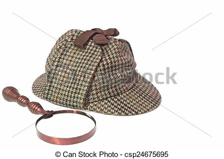 Stock Photographs of Deerstalker Hat and Retro Magnifying Glass.