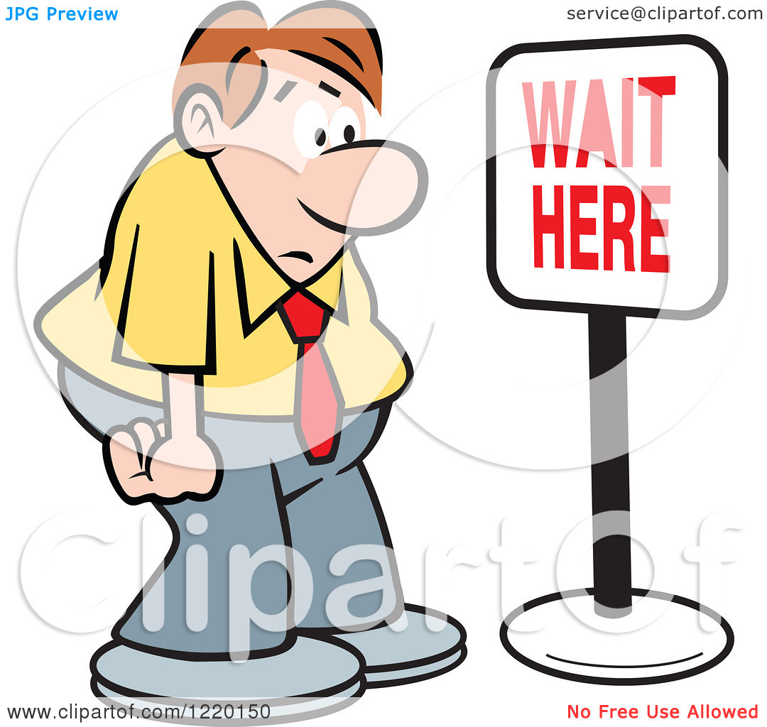 Clipart of a Defeated Businessman in Front of a Wait Here Sign.