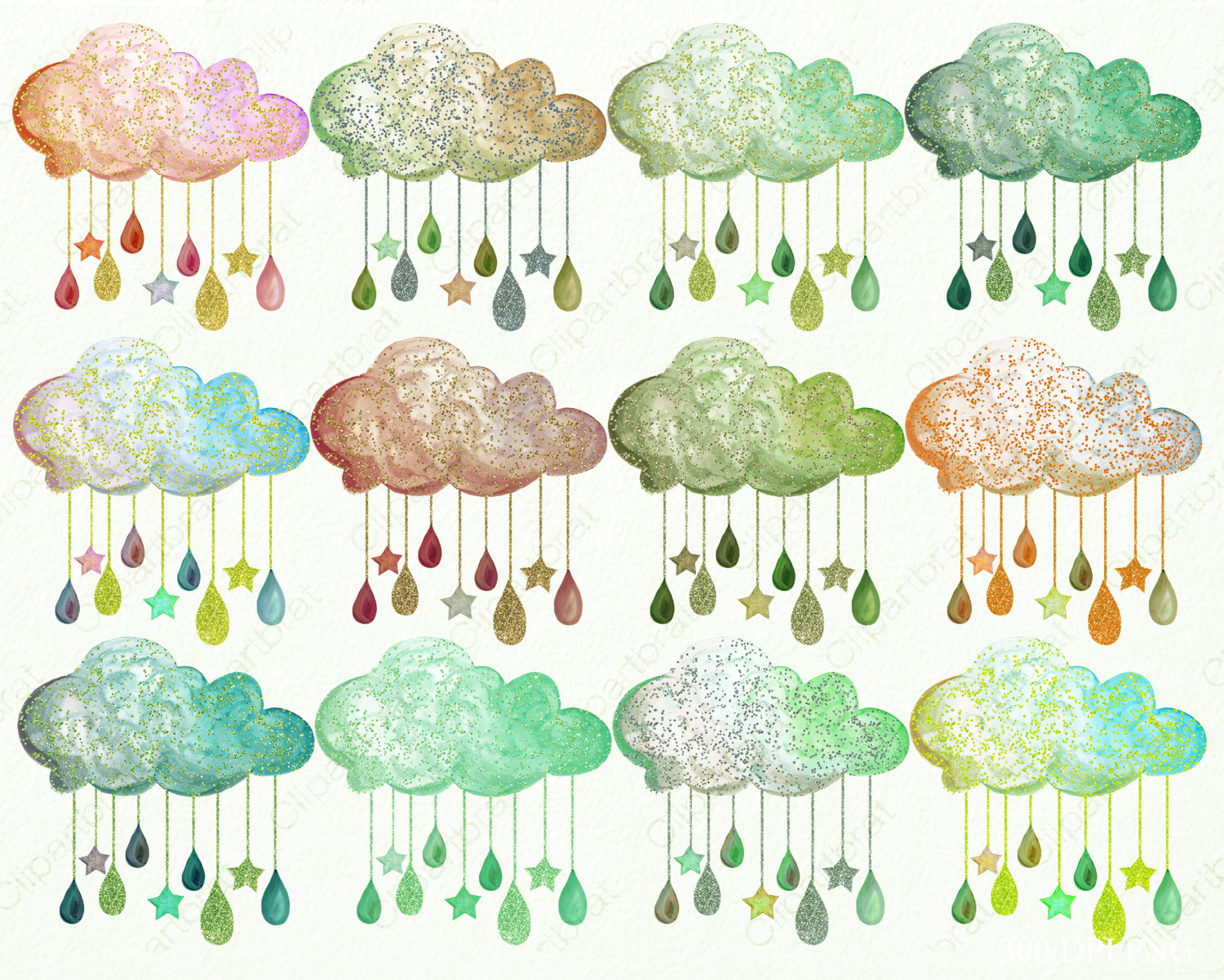 WATERCOLOR RAIN CLOUDS Clipart Commercial Use Clipart 12 Clouds.