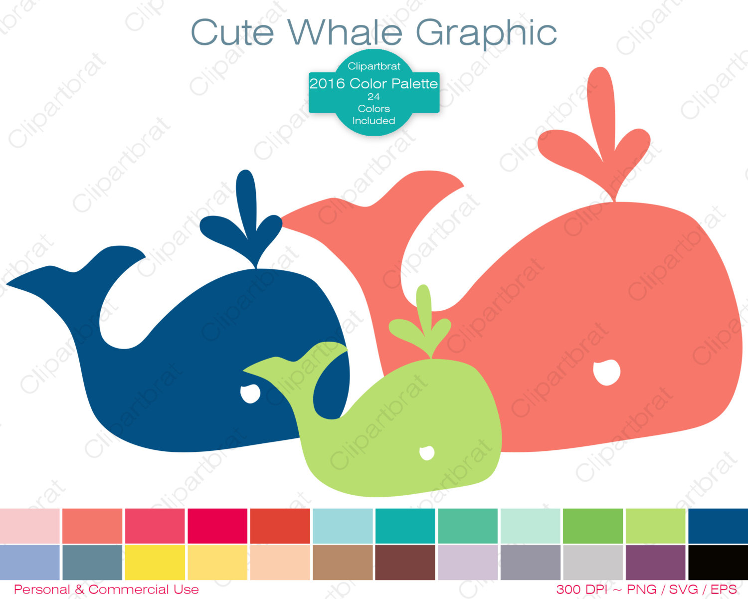 WHALE Clipart Commercial Use Clipart CUTE WHALE Graphic 2016 Color.