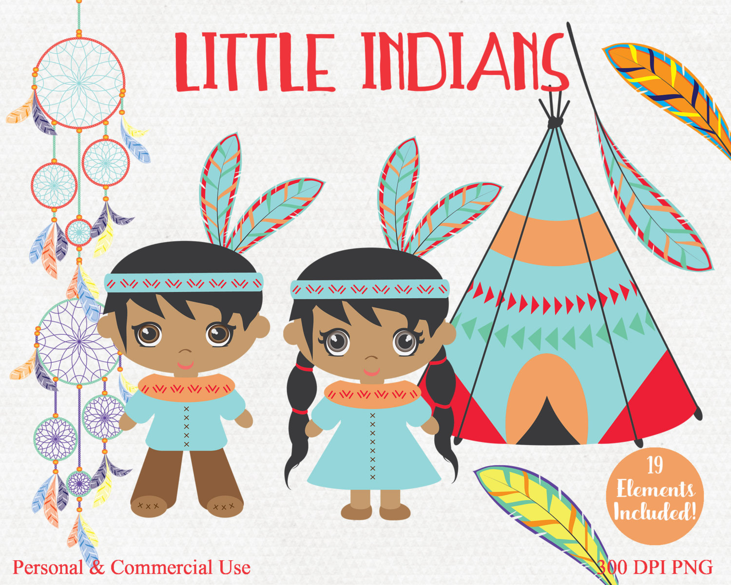 LITTLE AMERICAN INDIANS Clipart Commercial Use Clip Art Indians.