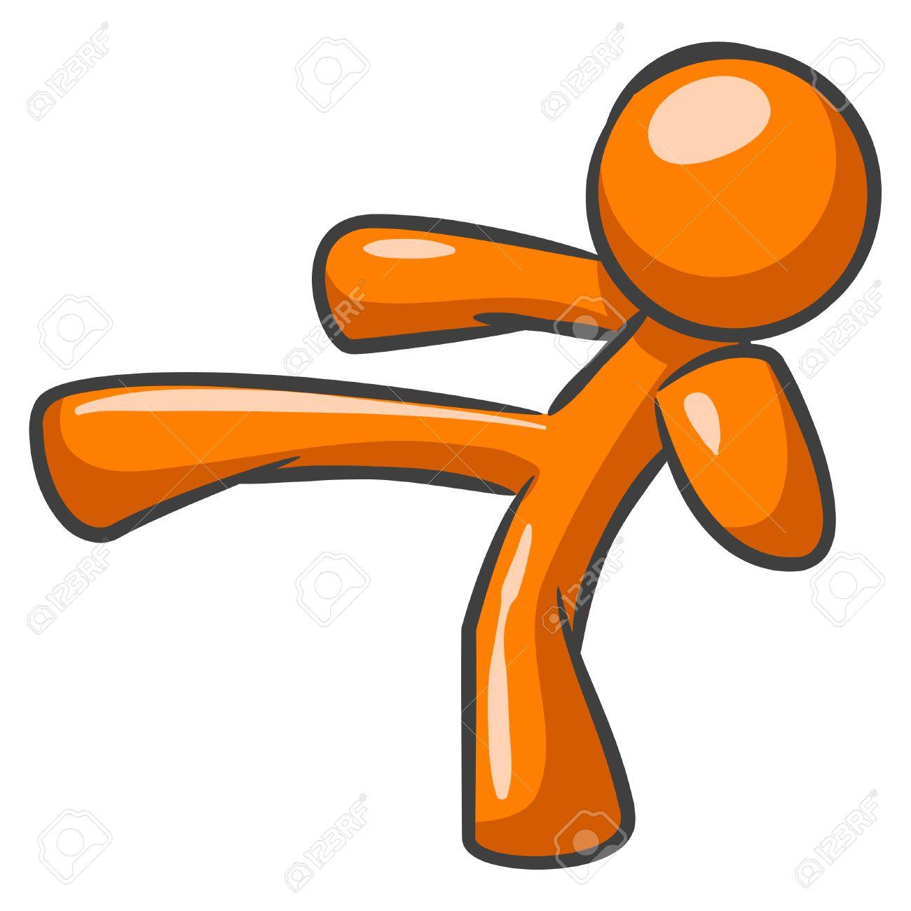 Orange Man Posed And Making A Karate Kick. Royalty Free Cliparts.