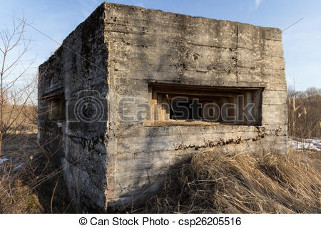 Clipart of Defence construction of Second World War on the bank of.