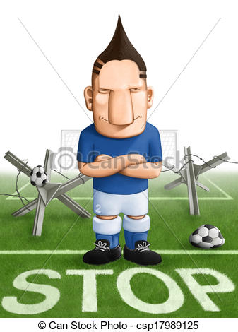 Clip Art of Soccer strong defender.