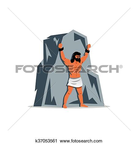Clipart of Prometheus on rock. In Greek mythology, titan, defender.