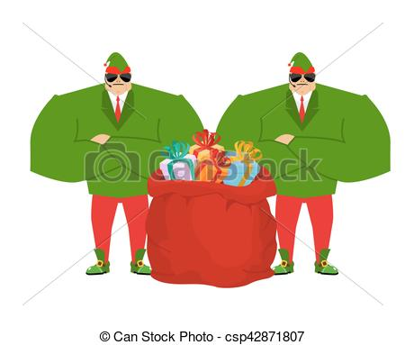 Vector Clipart of Santa elf and red bag. Claus bodyguards.