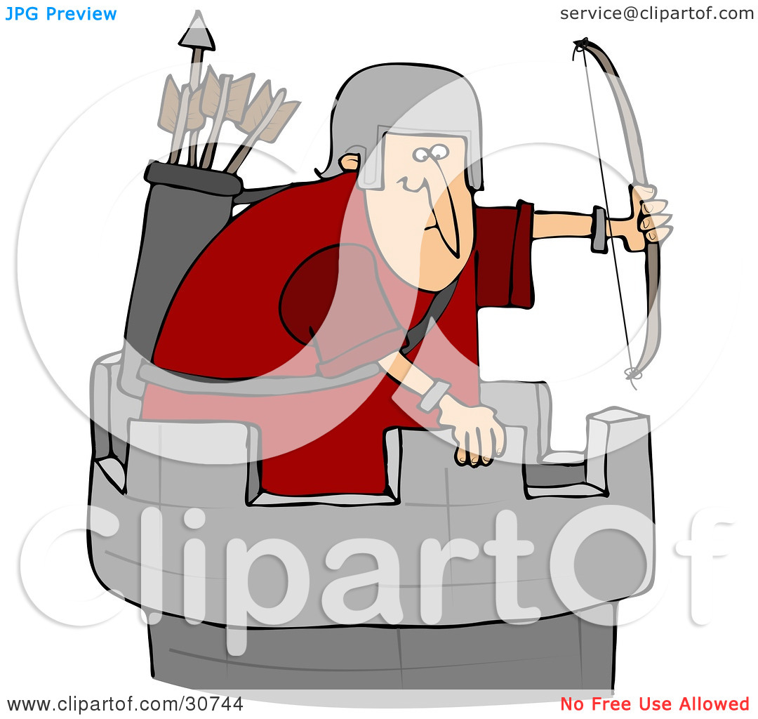 Clipart Illustration of an Archer Soldier In A Tower, Defending A.