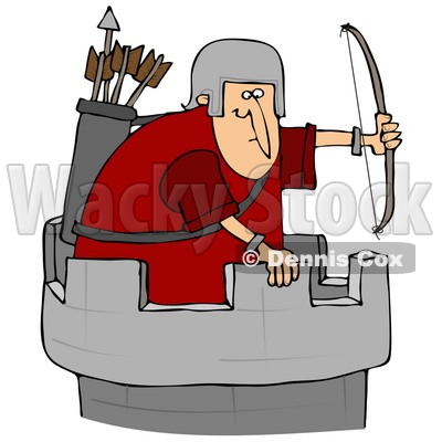Illustration of an Archer Soldier In A Tower, Defending A Fortress.