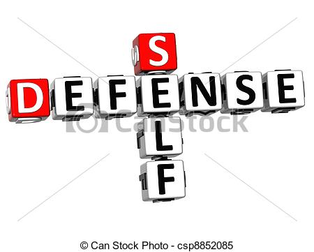 Stock Images of 3D Self Defense Crossword cube words on white.