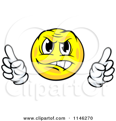 Clipart of an Annoyed or Defensive Yellow Emoticon.