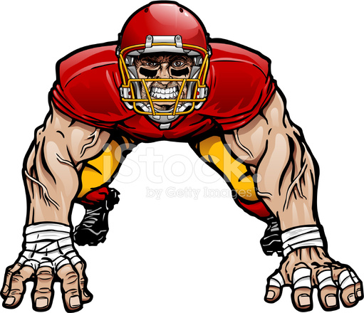 Defensive Football Player Clipart.
