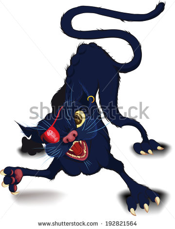Fight Cat Defensive Position Which Raised Stock Illustration.