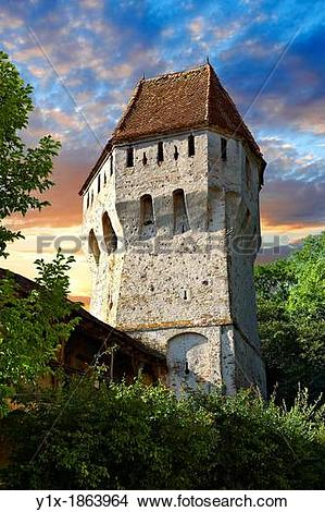 Stock Photo of Defensive tower of Sighisoara Saxon fortified.
