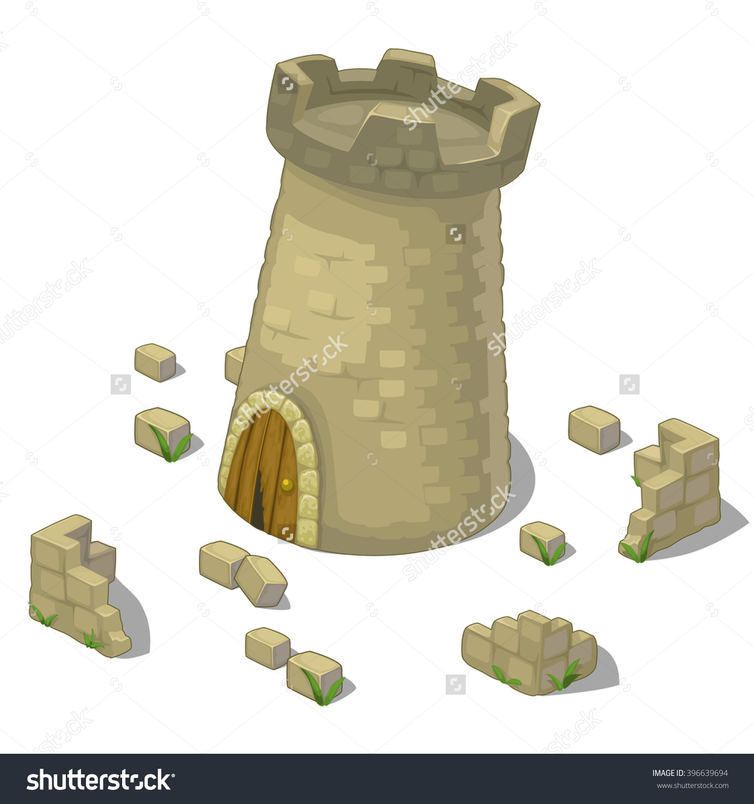 Defensive Tower Medieval Buildings Vector Illustration Stock.