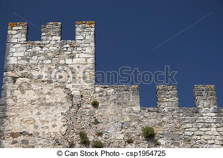 Stock Images of Castle wall and defensive tower, isolated.