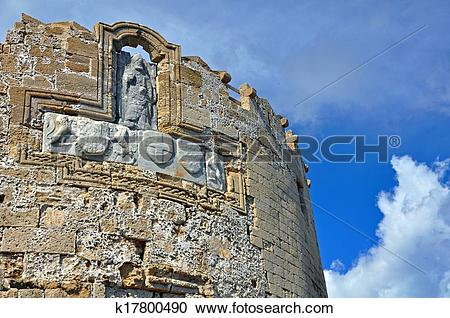 Stock Photography of Defensive Tower, City Walls, Rhodes k17800490.