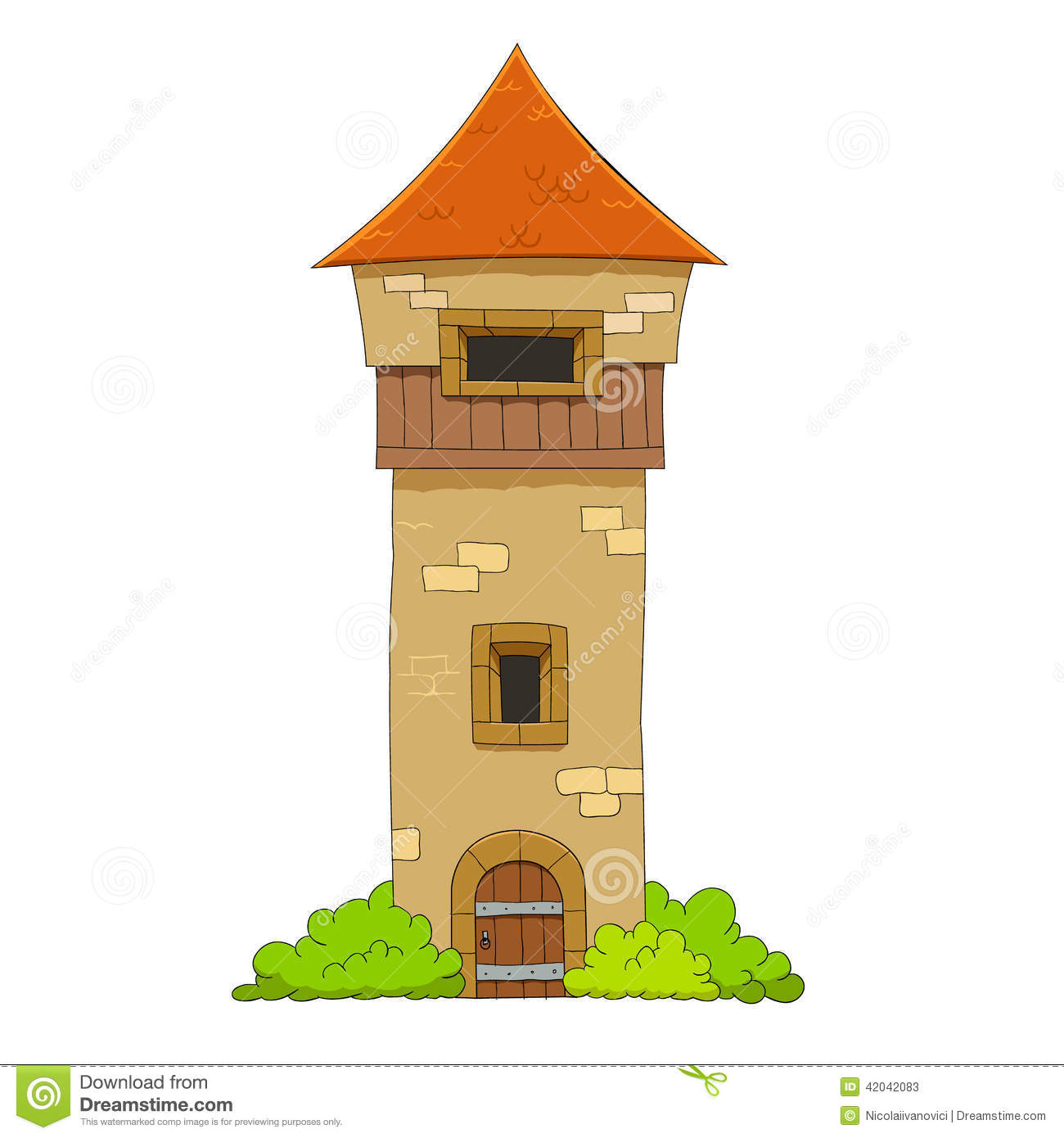 Old Defense Tower Stock Vector.