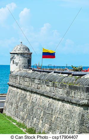 Stock Photography of Defensive Wall and Cannons.