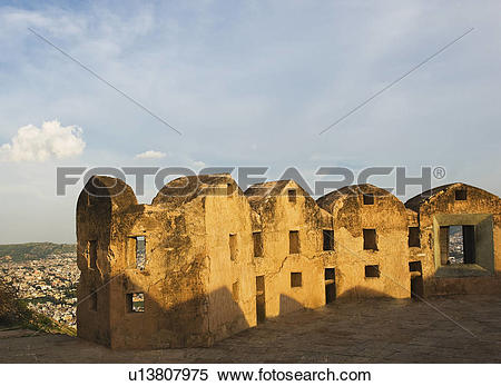 Stock Image of Defensive wall of a fort, Nahargarh Fort, Jaipur.