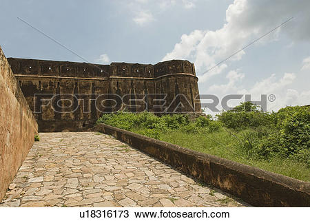 Stock Photo of Walkway along defensive wall of a fort, Jaigarh.