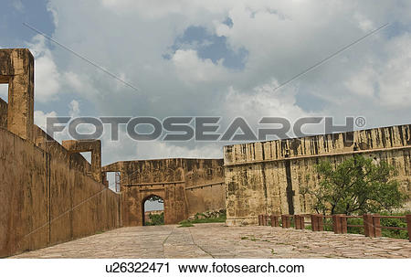 Stock Photography of Walkway along defensive wall of a fort.