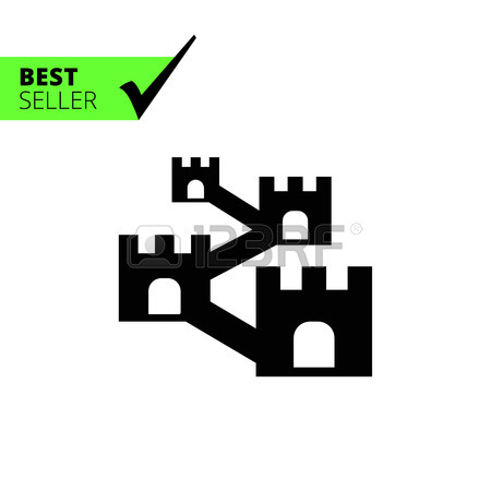 Vector Icon Of Defensive Wall With Towers Royalty Free Cliparts.