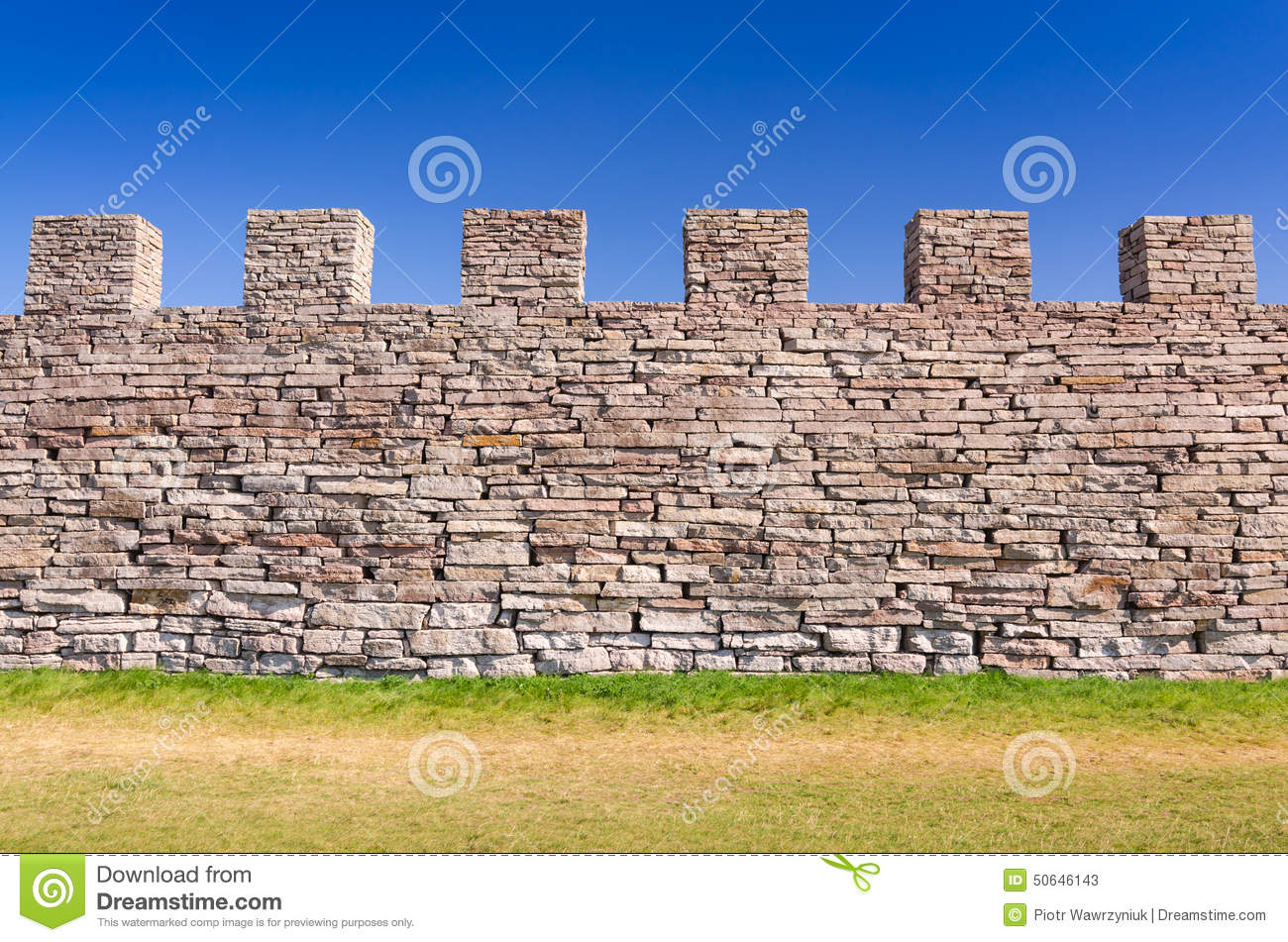 Ancient Castle Defense Wall Stock Photo.