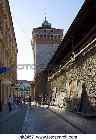 Picture of Poland, Krakow, Pijarska street, defensive walls.