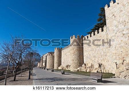 Stock Photo of Defensive walls tower at Avila, Spain k16117213.