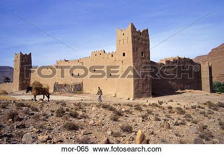 Stock Image of Defensive Walls of Ifri Berber Village Morocco mor.