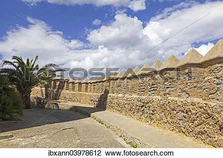 "Stock Photo of ""Defensive walls of the castle, Arta, Majorca."