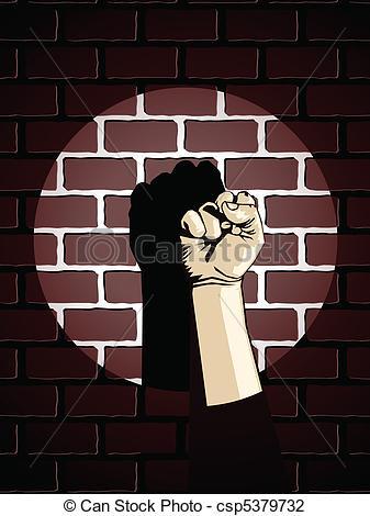 Vector Illustration of Fist against brick wall.